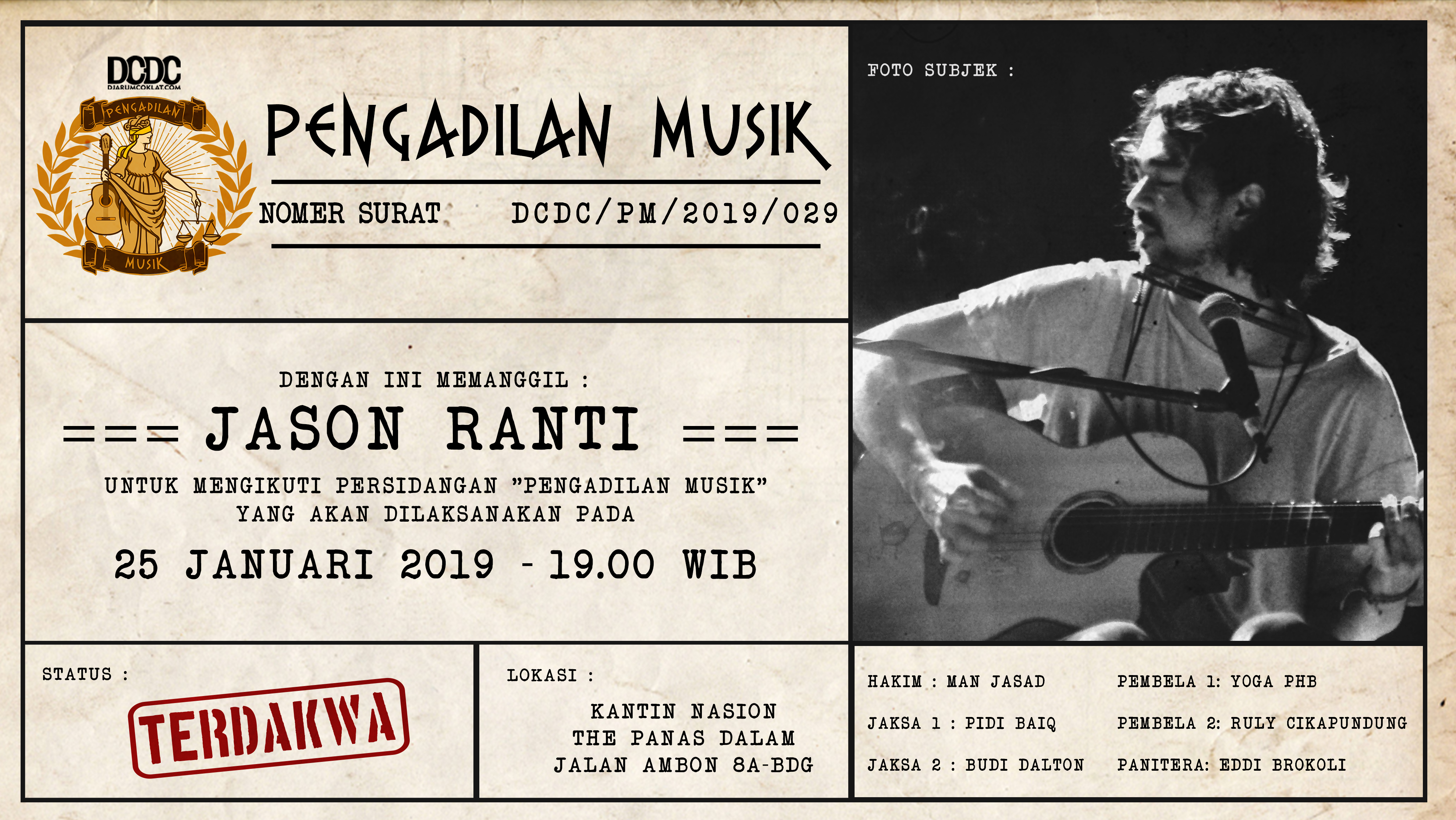 Awal Tahun Ini Jason Ranti Diminta Mempertanggung Jawabkan Karyanya di Pengadilan Musik